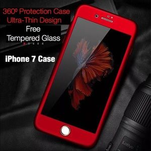 iPhone 7 Case (Red): Free Tempered Glass